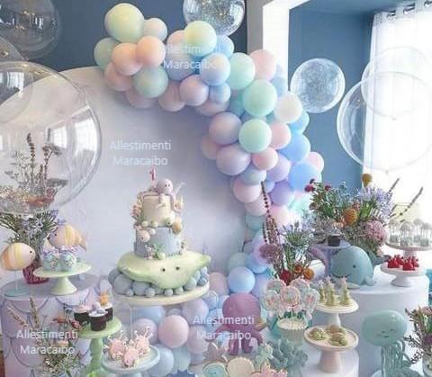 Allestimenti Civitanova Marche palloncini addobbi celeste pastello elio ghirlanda decorazioni addobbi cerimonie compleanni battesimi primo compleanno