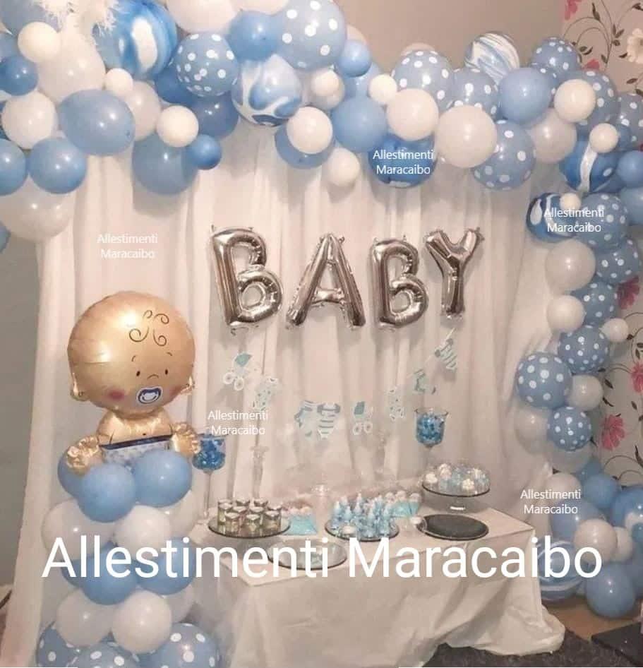 Allestimento Battesimo palloncini addobbi decorazioni tavolo torta elio composizioni centrotavola bimbo bimba bambino bambina tenda ghirlanda