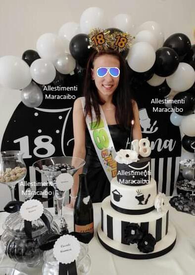 Allestimento compleanno 18 anni diciottesimo palloncini sfondo stampa diciotto anni