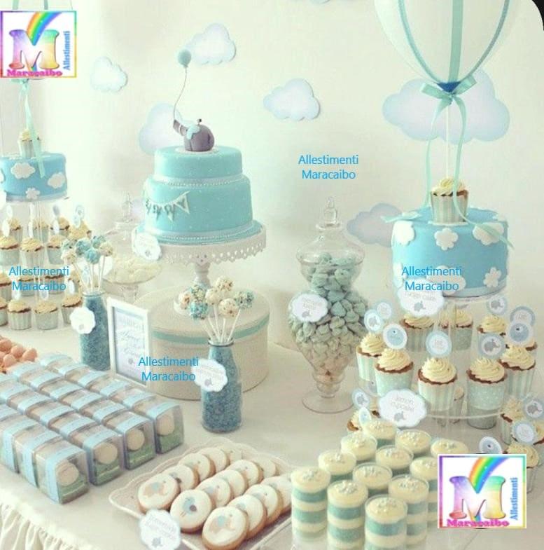 Decorazioni battesimo Sweet table allestimento addobbo tavolo torta compleanno cerimonie eventi feste muffin dolcetti