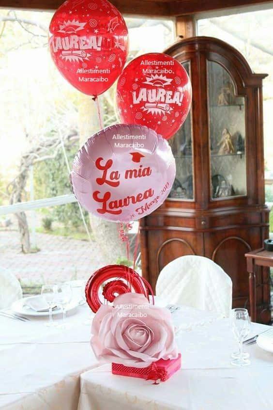 Decorazioni laurea addobbi palloncini allestimenti festa laureati party tavolo centrotavola Corridonia Chiaravalle Senigallia