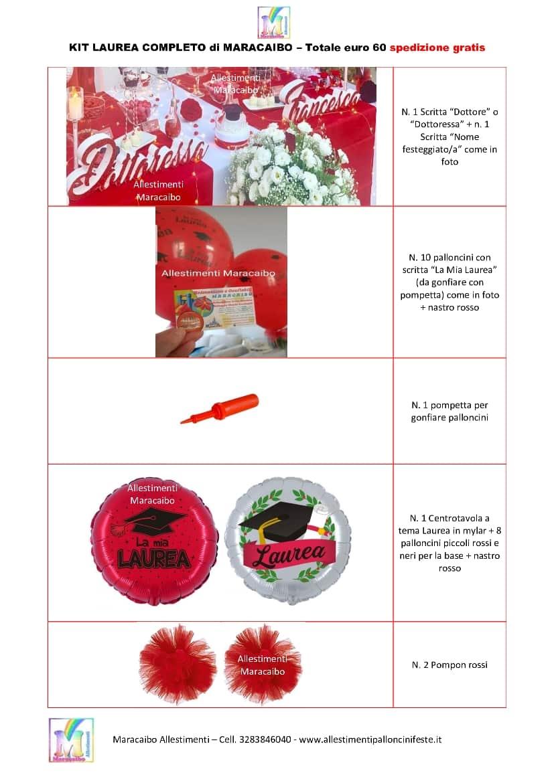 Kit Laurea allestimento addobbo pacchetto completo spedizione lauree feste eventi palloncini scritte personalizzate decorazioni r2