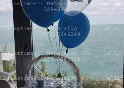 Tavolo torta Battesimo palloncini addobbi decorazioni tavolo torta elio composizioni centrotavola