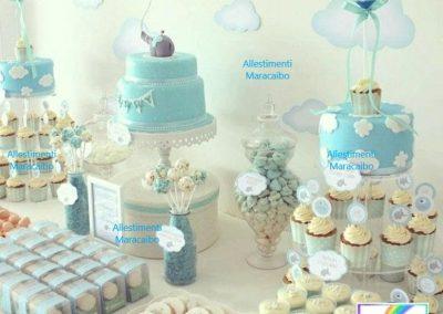Allestimento battesimo Decorazioni Sweet table decorazioni palloncini addobbo tavolo torta compleanno cerimonie eventi feste muffin dolcetti