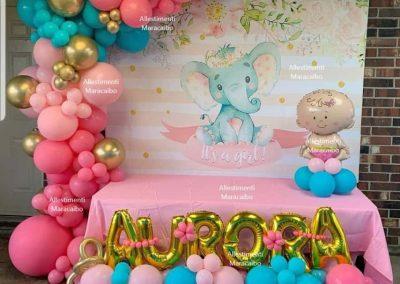 Allestimento battesimo Ghirlanda gigante composizione di palloncini scritta nome con palloncini stampa gigante centrotavola pupo tema