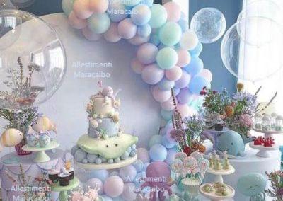 Allestimento battesimo decorazioni addobbi tema mare marino celeste palloncini ghirlanda decorazioni Marche Fano Castelfidardo Elpidio Tolentino Recanati