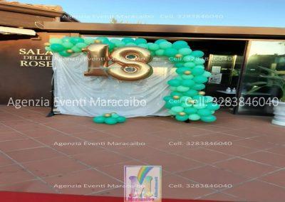 18 anni allestimento diciotto anni festa addobbi organizzazione evento decorazioni palloncini musica scatola regalo fuochi tavolo torta Ascoli San Benedetto tenda luci foto selfie