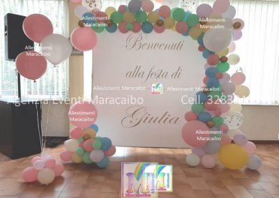 Addobbi completi per compleanni battesimi archi palloncini decorazioni tavolo torta Perugia Foligno Bastia Gubbio
