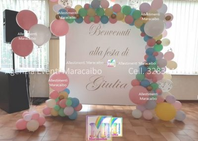 Allestimenti completi per compleanni battesimi archi palloncini decorazioni tavolo torta Perugia Foligno Bastia Gubbio Cupra Marittima