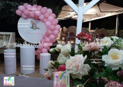 Allestimenti completi per compleanni battesimi archi stampe personalizzati palloncini decorazioni tavolo torta Macerata Tolentino