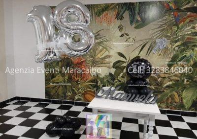 Numero gigante 18 a elio + centrotavola 18 anni + scritta nome compleanno allestimento diciottanni addobbi festa evento