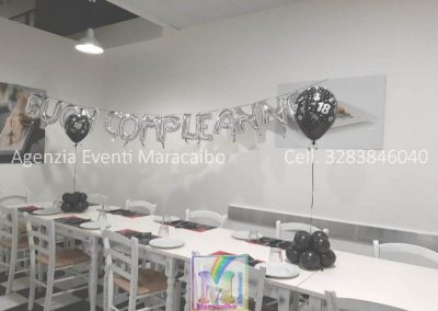Scritta buon compleanno palloncini argento + composizione palloncini ad elio con base sopra tavolo 18 anni diciotto