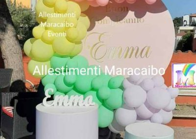 Addobbi battesimi allestimenti tavolo torta confettata segnaposto centrotavola palloncini elio scritta archi Fermo San Benedetto