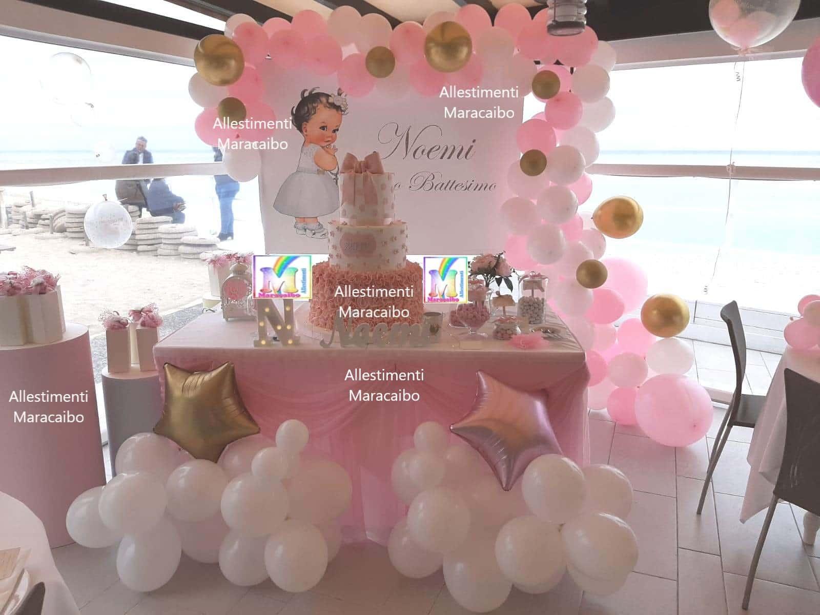 Addobbo primo compleanno cerimonie comunioni feste eventi palloncini tema vintage bambolina Fano Pesaro Riccione Tavullia