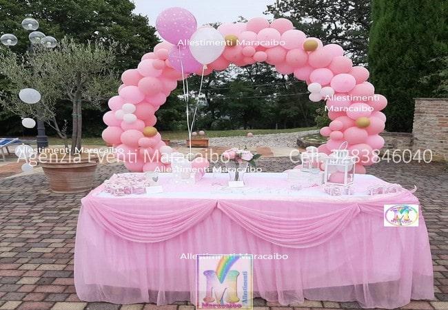Allestimenti battesimo compleanni cerimonie tavolo torta personalizzati palloncini decorazioni tavolo confettata bambino bambina