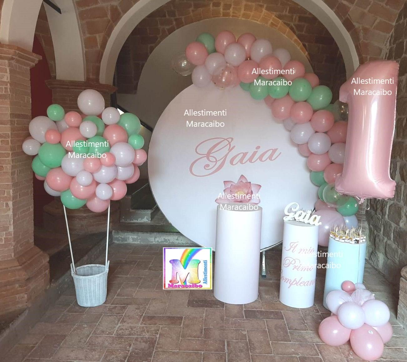 Palloncini primo compleanno battesimi archi stampe personalizzate mongolfiera numero gigante cilindri decorazioni sweet table centrotavola Ancona Macerata